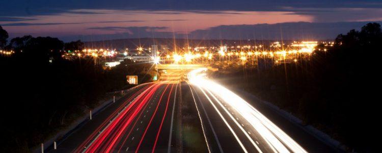 Light games - night road photo by Lefteris Katsouromallis