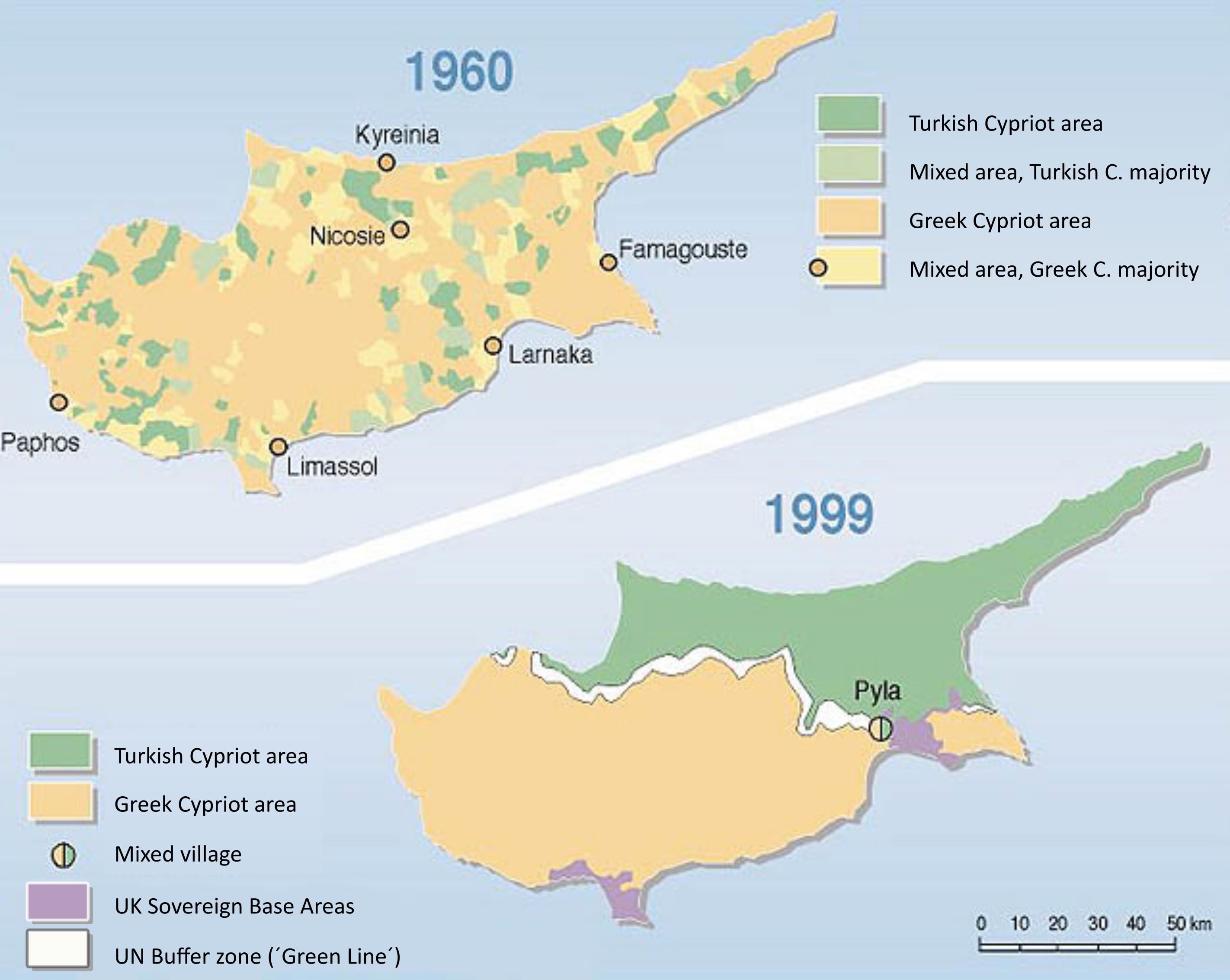 cyprus population distribution 1960 - 1999
